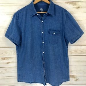 J. Crew Men's Indigo Short Sleeve Button Shirt, XL